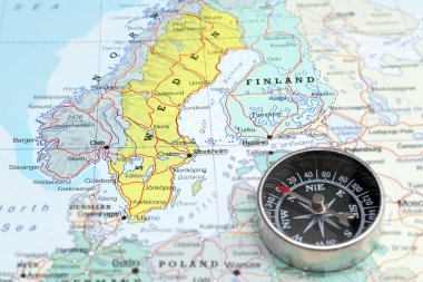 Travel destination Norway Sveden and Finland, map with compass
