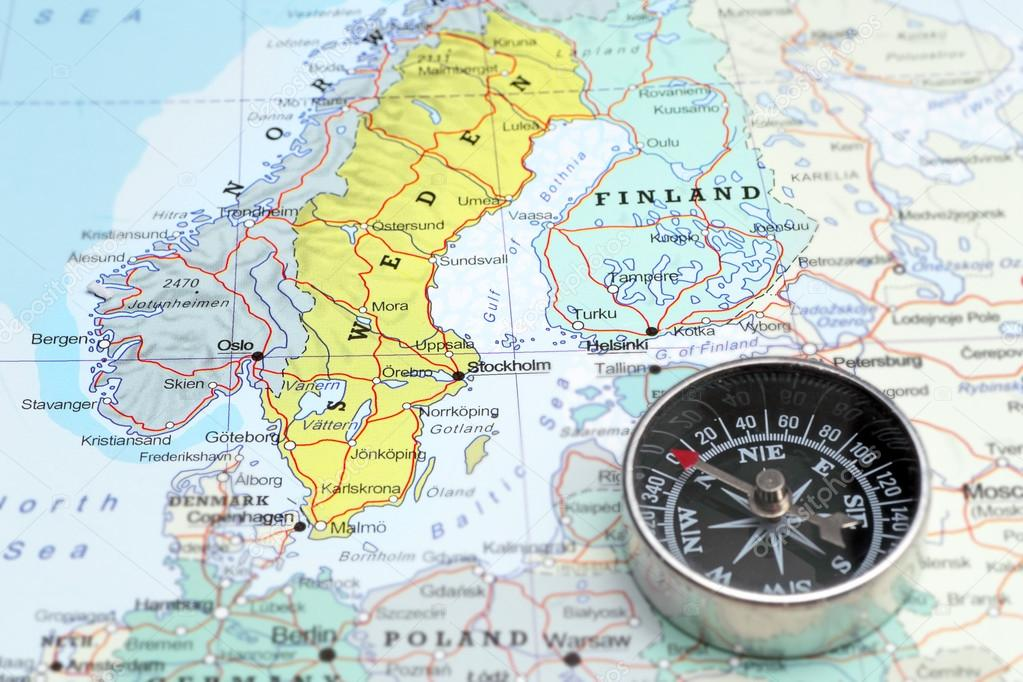 Travel Destination Norway Sveden And Finland Map With Compass