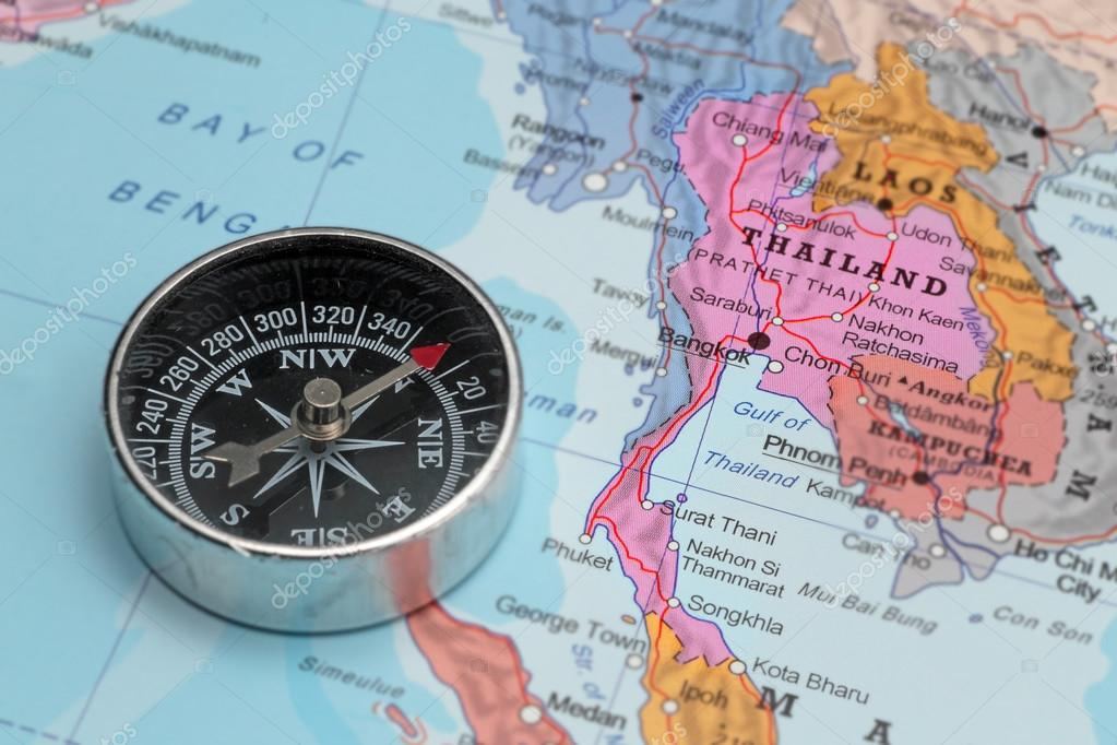 Travel destination Thailand, map with compass