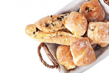 Freshly baked homemade buns, isolated on white background stock vector