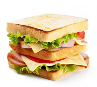 Sandwich with bacon and vegetables on white background stock vector