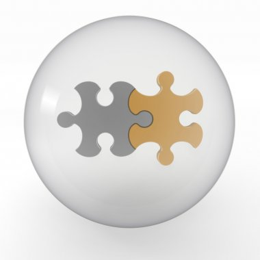 Crystal ball with two coupled of puzzle inside