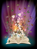 Fotografia libro aperto con farfalle volano da esso