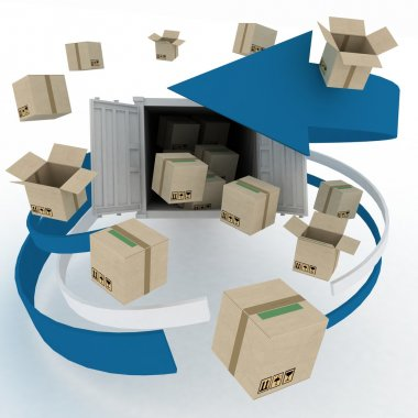 3d cardboard boxes around container on white background.