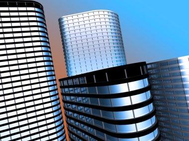 Skyscrapers.3d render. stock vector