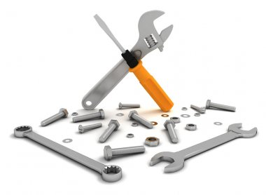 set of tools, nuts and bolts for repair and maintenance