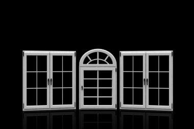 plastic windows on black background