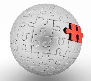 3d render illustration spherical puzzle