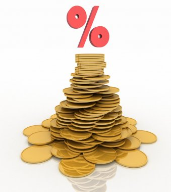 Pile of gold coins and a percent sign