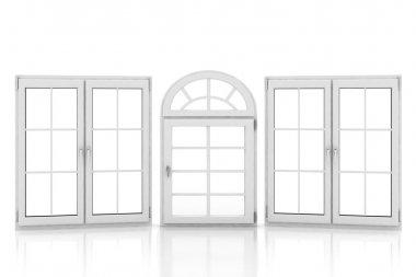 closed plastic windows on white