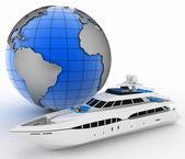 Fotografie Yacht and globe. 3d illustration on white isolated background.