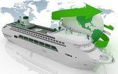 Fotografie Liner cruise for a round-world voyage. 3d render illustration