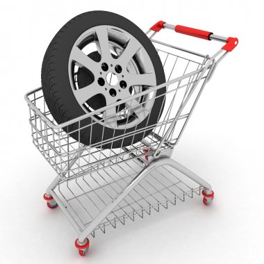 3D Shopping cart with wheels