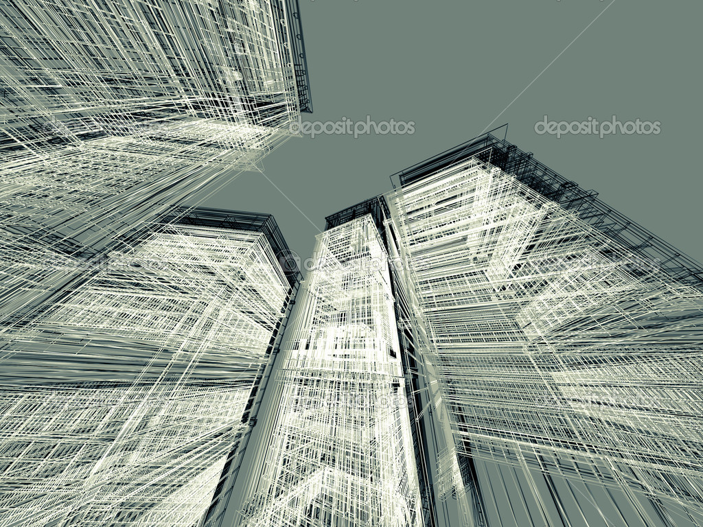 Modern Architecture Render 3d render abstract modern architecture background — stock photo