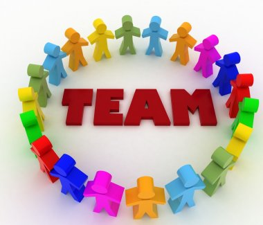 People stand around the word team. Conception of cooperation