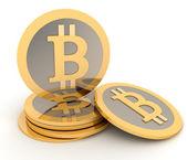 Fotografie Stapel von Bitcoins isoliert auf weiss. Konzeption des elektronischen Einkommens