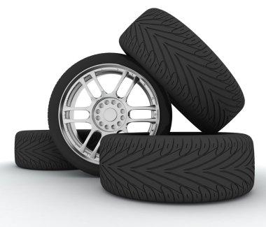 Car Wheels. Concept design. 3D render Illustration on White Background. stock vector