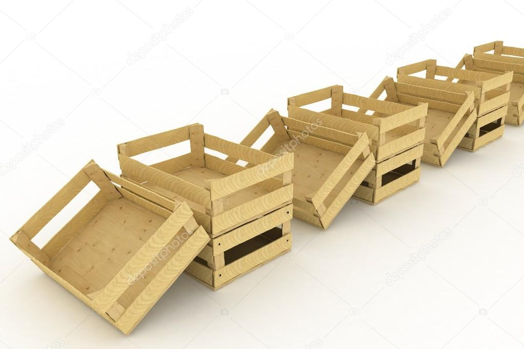 cajas de madera vacas envases para frutas y verduras u foto de stock
