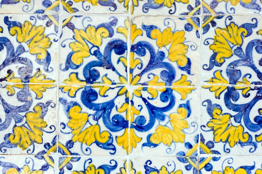Vintage spanish style ceramic tiles wall decoration Stock Photo