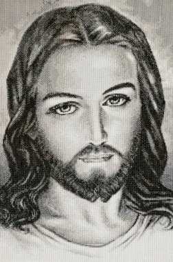Handmade fabric portrait of Jesus Christ