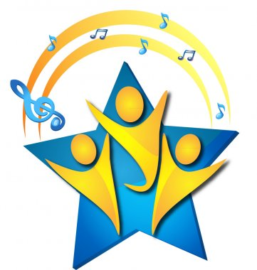 Teamwork singing talents logo