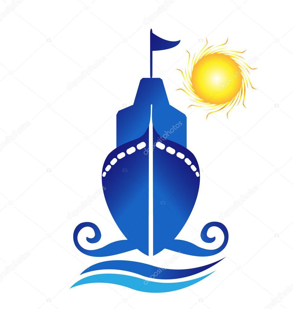 Ship sun waves logo vector