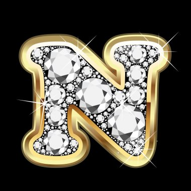 N gold and diamonds bling