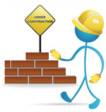 Worker and construction sign