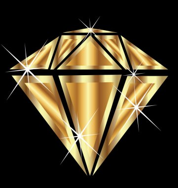 Diamond in gold with bling bling vector