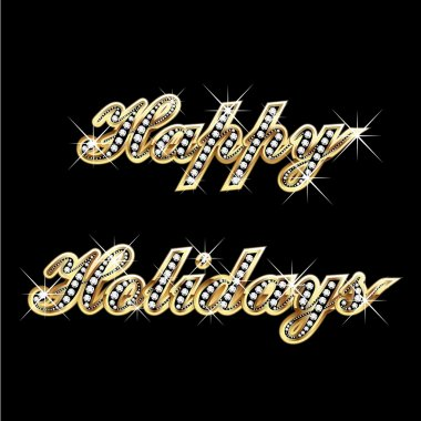 Happy holidays gold bling bling
