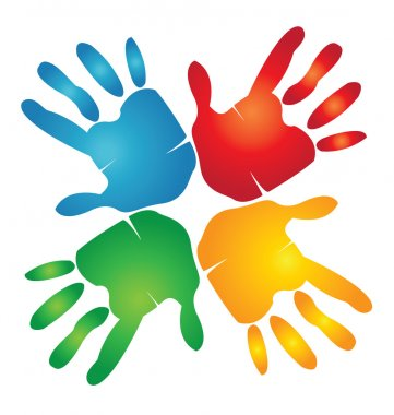 Teamwork hands around colorful logo clip art vector