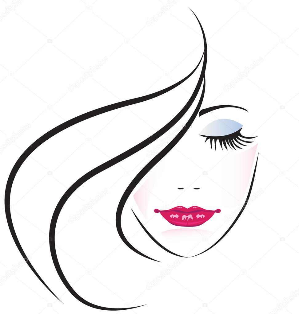 Face of pretty woman silhouette vector