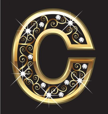 C gold letter with swirly ornaments vector stock vector