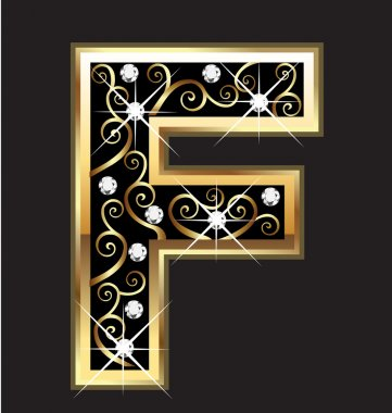 F gold letter with swirly ornaments vector stock vector