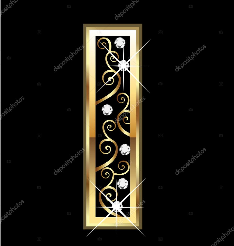 I gold letter with swirly ornaments — Stock Vector © Glopphy #14531069
