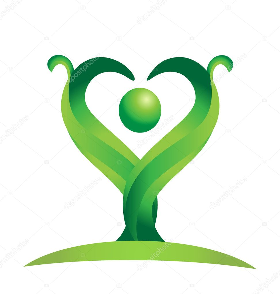 Figure of green natural leaves logo