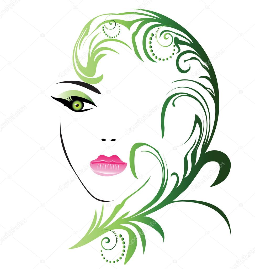 Girl face with swirly leaf vector