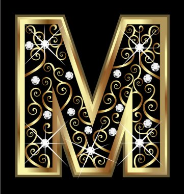 M gold letter with swirly ornaments vector stock vector