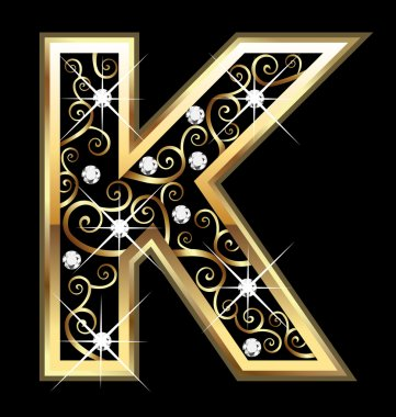 K gold letter with swirly ornaments vector stock vector