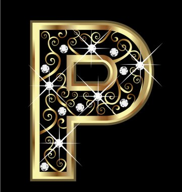 P gold letter with swirly ornaments vector