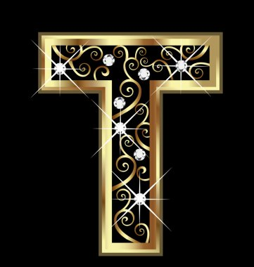 T gold letter with swirly ornaments vector stock vector