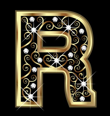 R gold letter with swirly ornaments vector stock vector