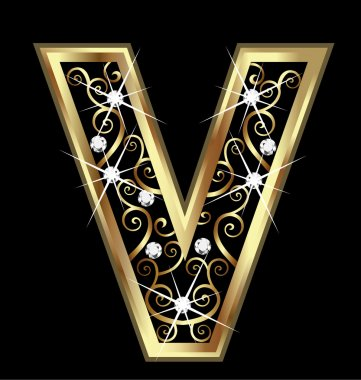 V gold letter with swirly ornaments