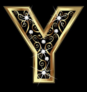 Y gold letter with swirly ornaments