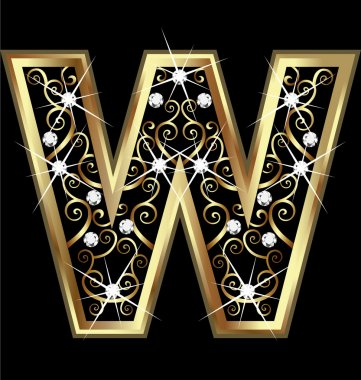 W gold letter with swirly ornaments