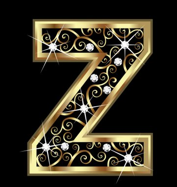 Z gold letter with swirly ornaments vector clip art vector