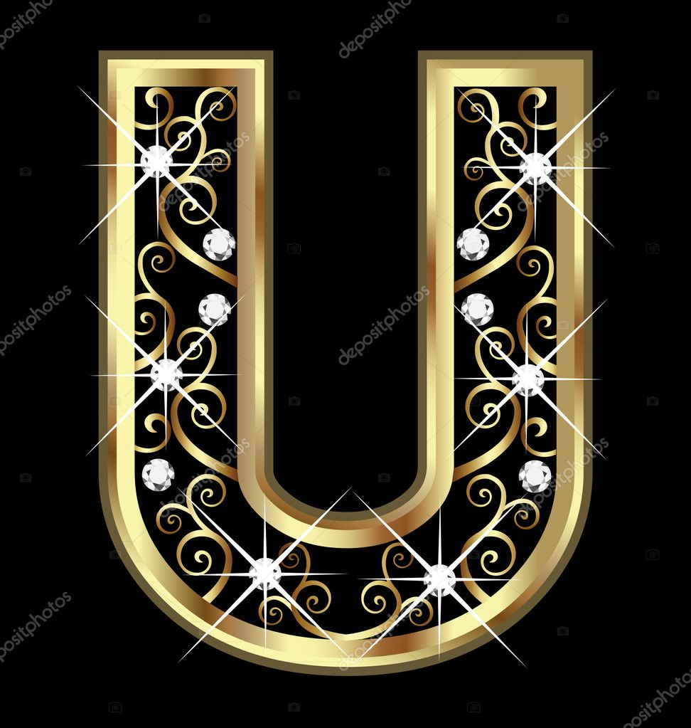 u gold letter with swirly ornaments stock vector 15051999