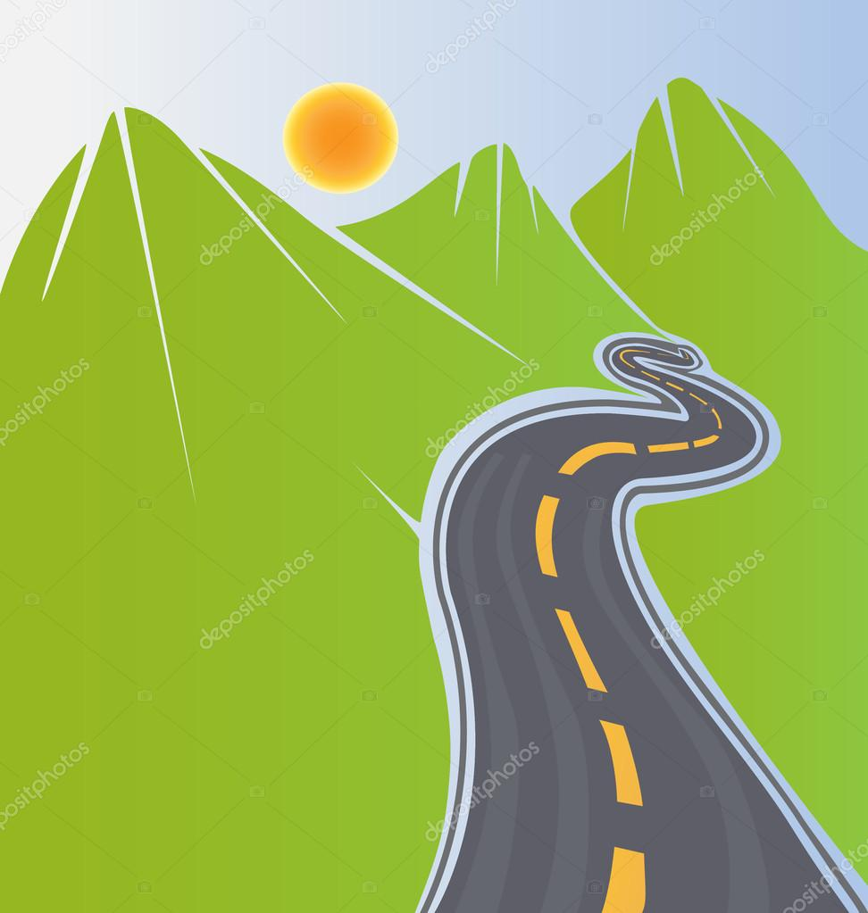 Road and green mountains background