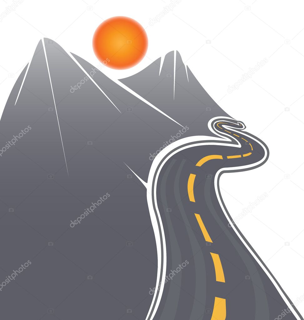 Road, sun and mountains vector