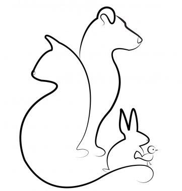 Cat dog rabbit and bird silhouettes logo
